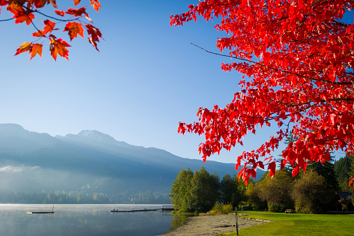 Alta Lake in Whistler, Canada. Whistler is one of British Columbia's premier tourist destinations.
