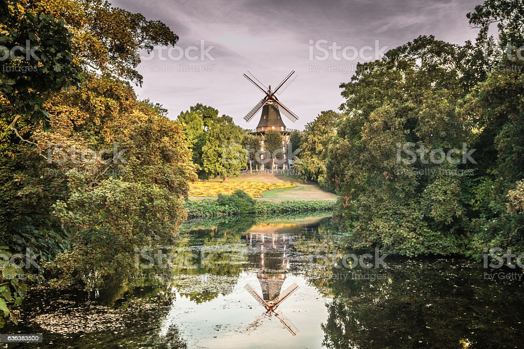View of Am Wall Windmill in Bremen Germany stock photo