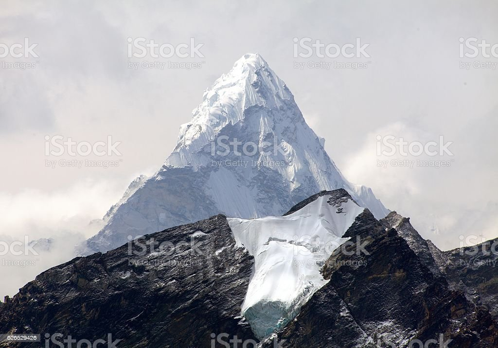 View of Ama Dablam, way to Everest Base Camp stock photo