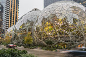 Seattle, Washington, USA - 27 October 2018. View of Amazon the Glass Spheres at its Seattle headquarters and Conference Center in Downtown Seattle.