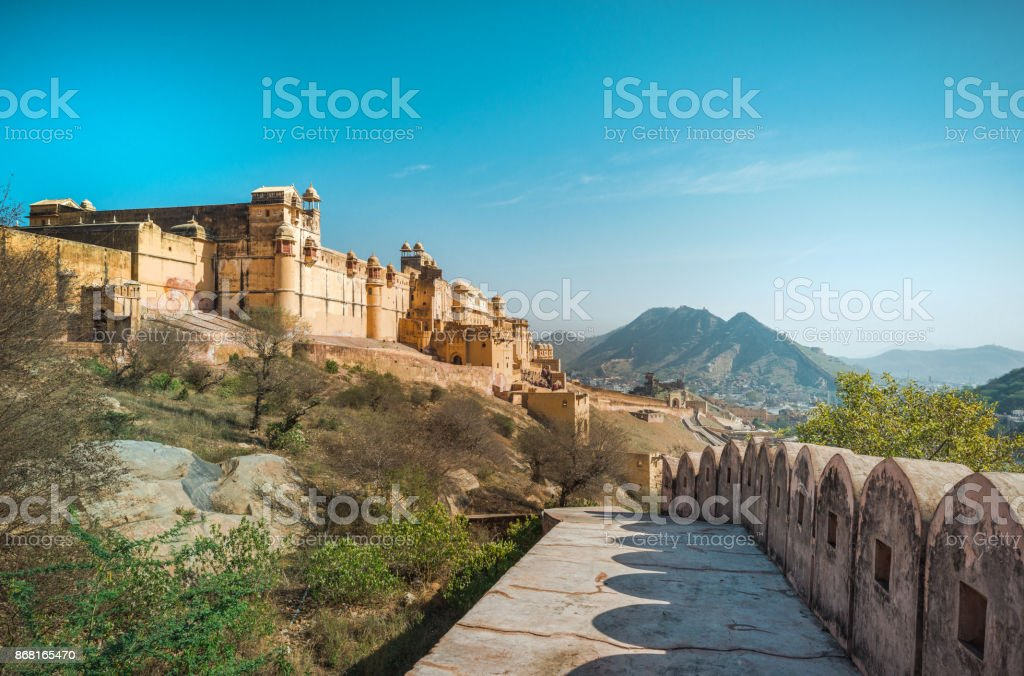 View of Amber Fort, India stock photo