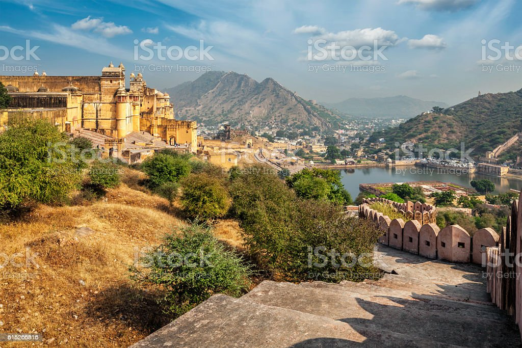 View of Amer (Amber) fort, Rajasthan, India stock photo