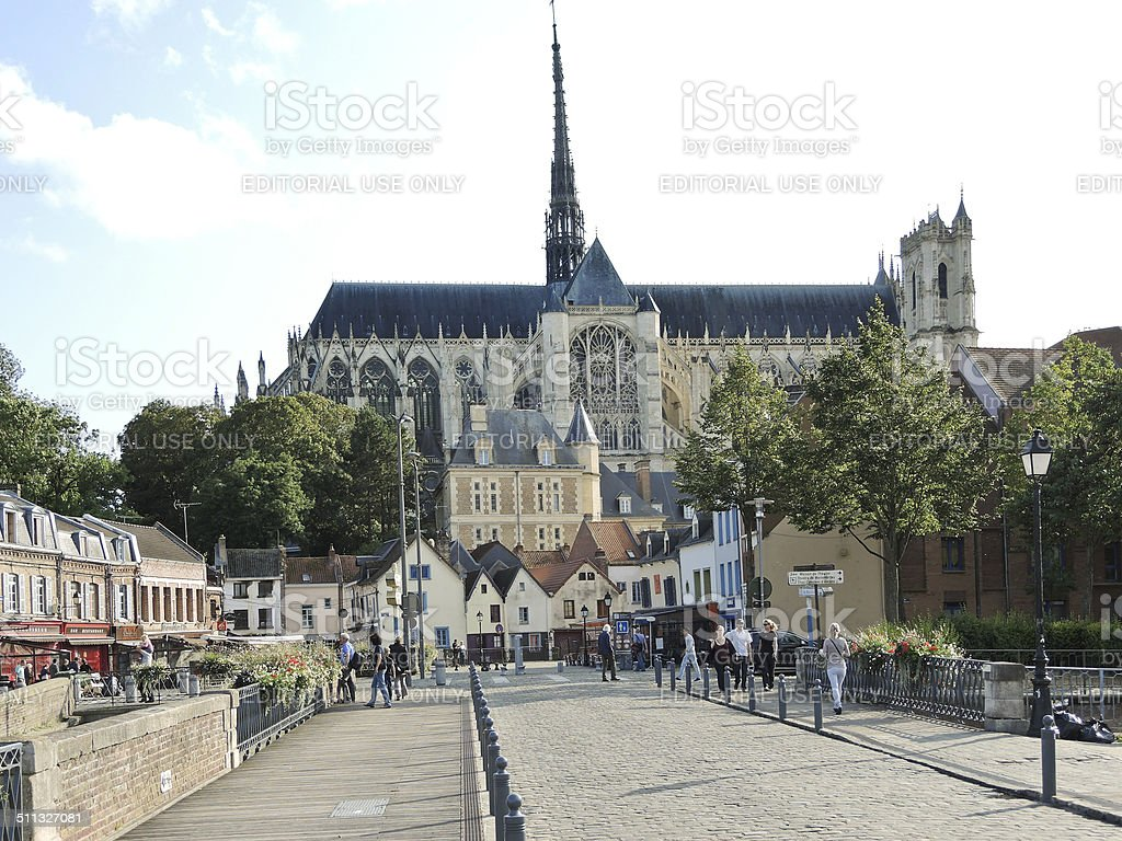 view of Amiens Cathedral, France stock photo
