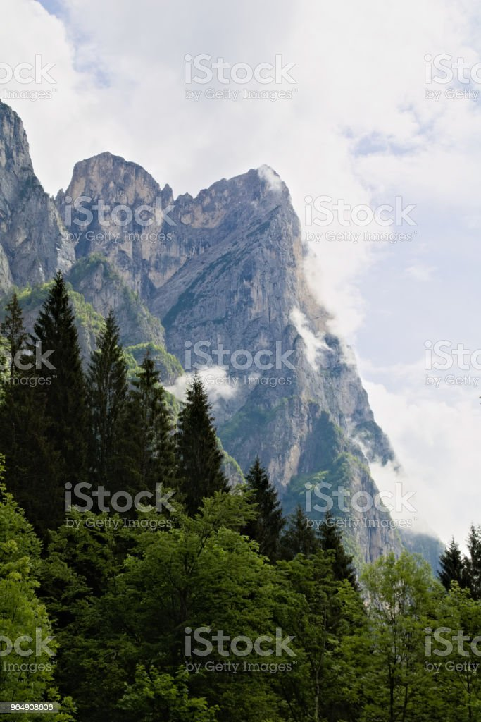 view of an alpine mountain landscape in the dolomites royalty-free stock photo