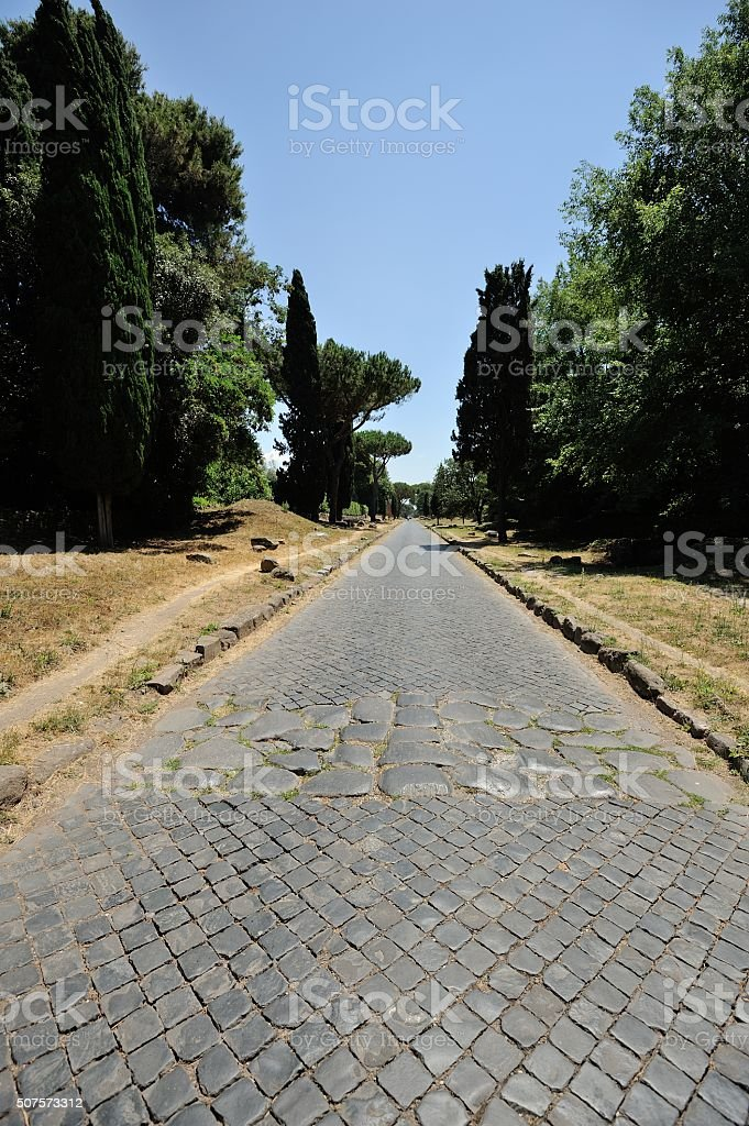 ROME - View of an ancient Roman road, Via Appia stock photo