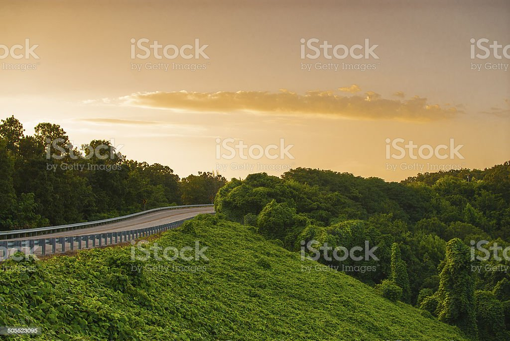 View of an Arkansas road at sunset stock photo