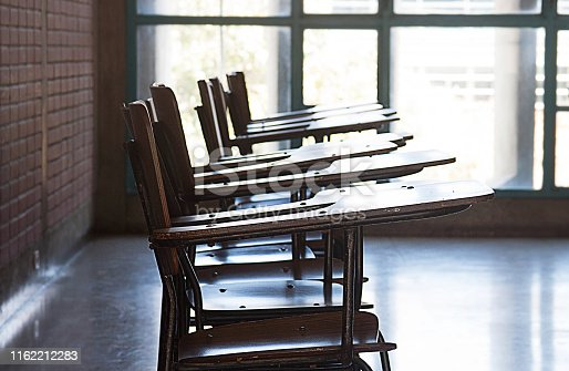 View of an empty classroom detail