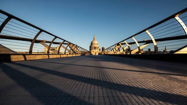 View of an empty Millennium bridge in London stock photo