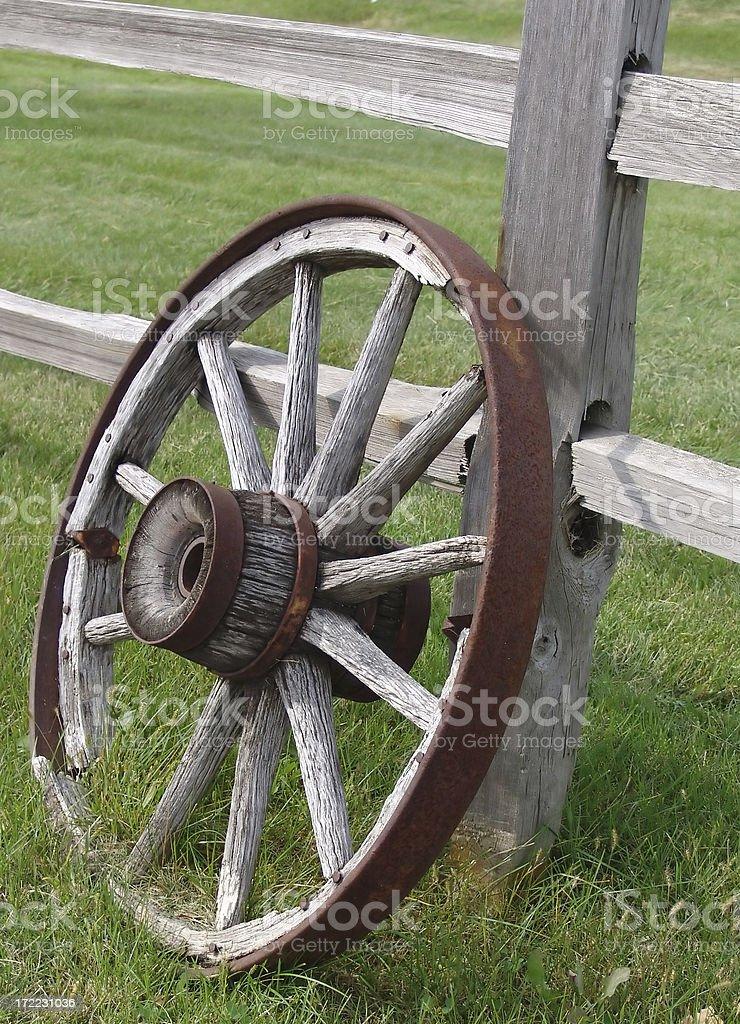 View of an old wagon wheel royalty-free stock photo