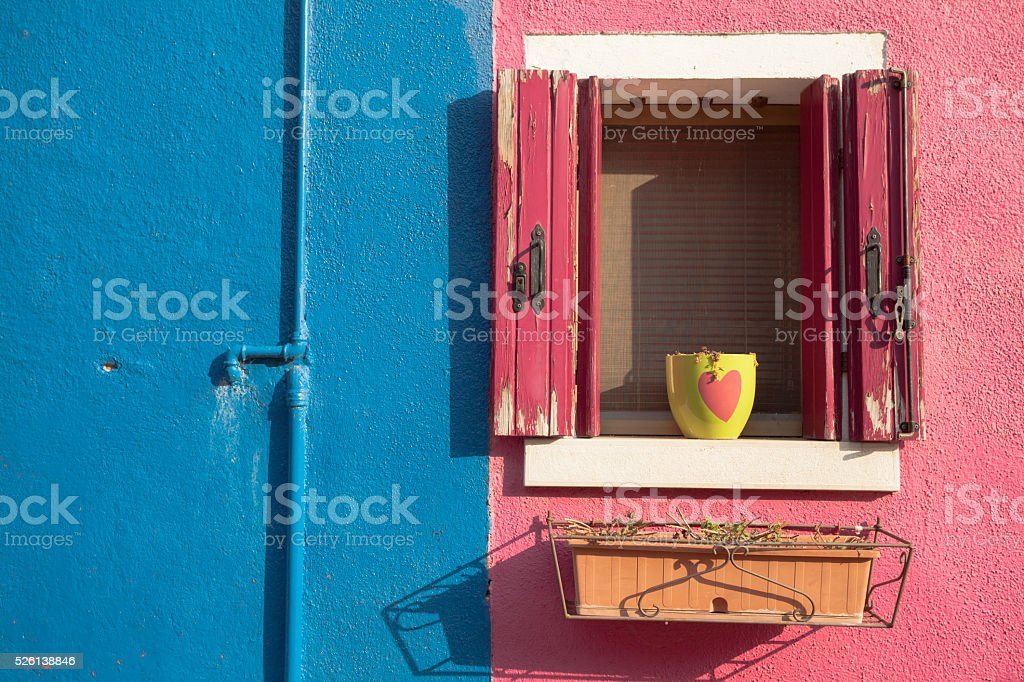 View of an open balcony from Burano island, Venice stock photo