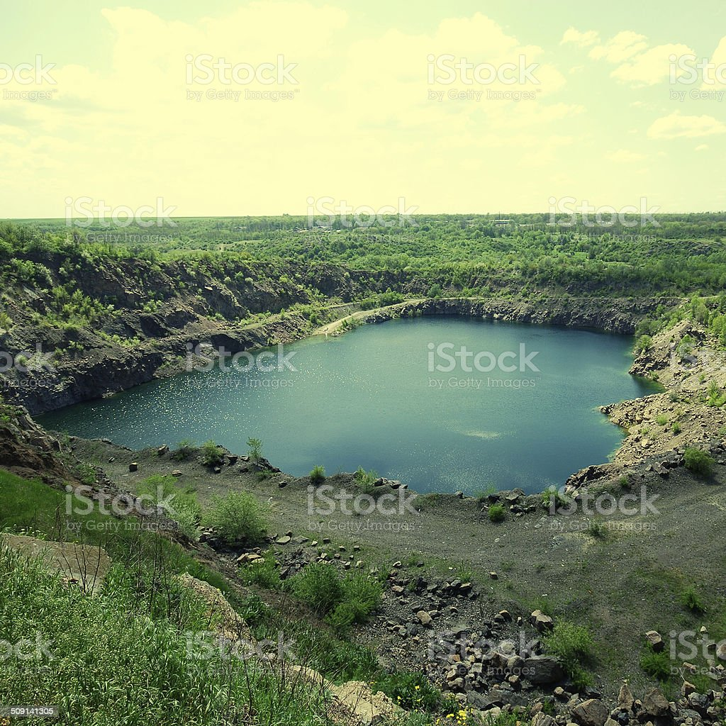 view of an open pit mining stock photo