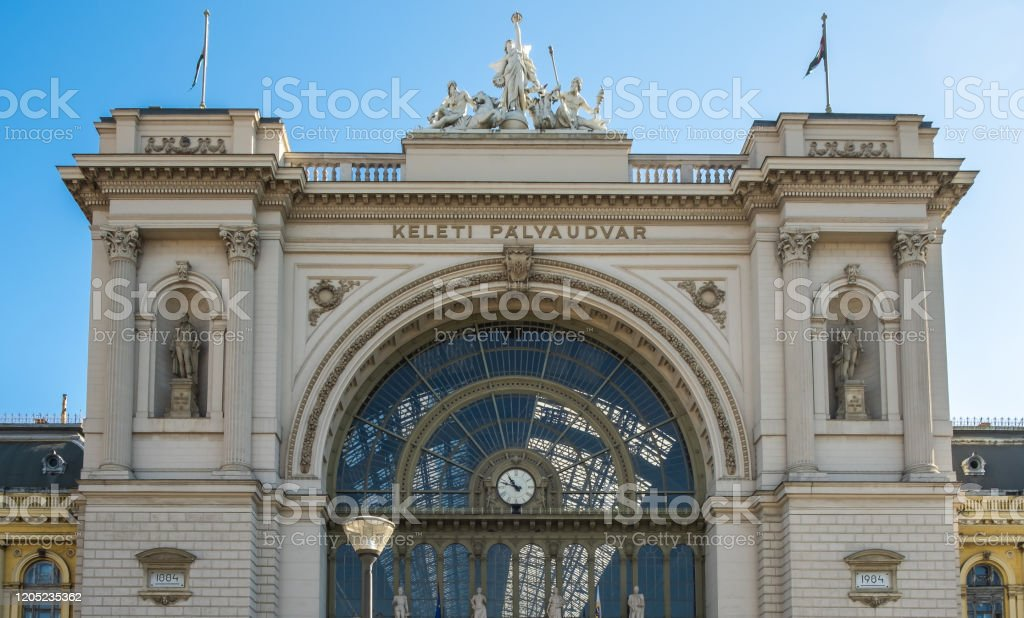 View of an outside building of Budapest Keleti railway station, the main international and inter-city railway terminal in Budapest, Hungary. View of an outside building of Budapest Keleti railway station, the main international and inter-city railway terminal in Budapest, Hungary. Architecture Stock Photo