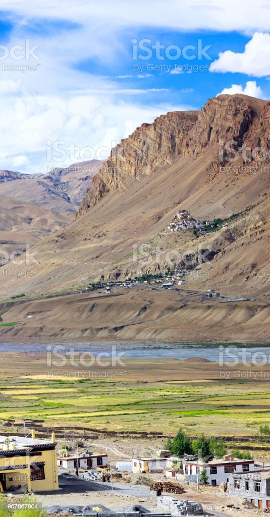 View of ancient buddhist monastery Key Gompa stock photo