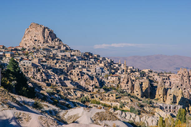 view of ancient fortress of Uchisar stock photo