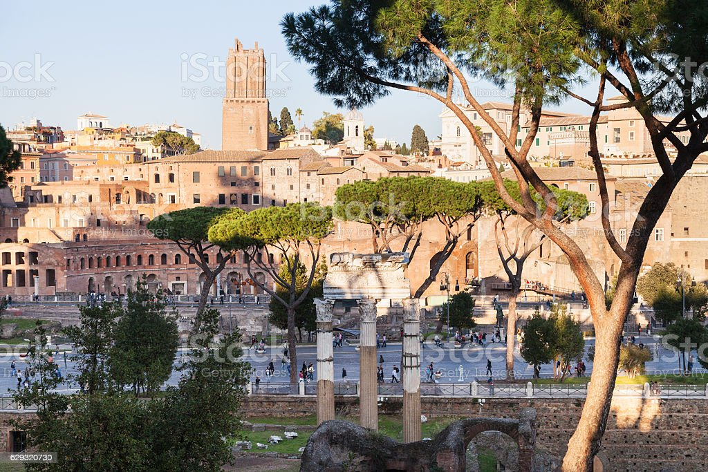 view of ancient Roman forums and road in Rome stock photo