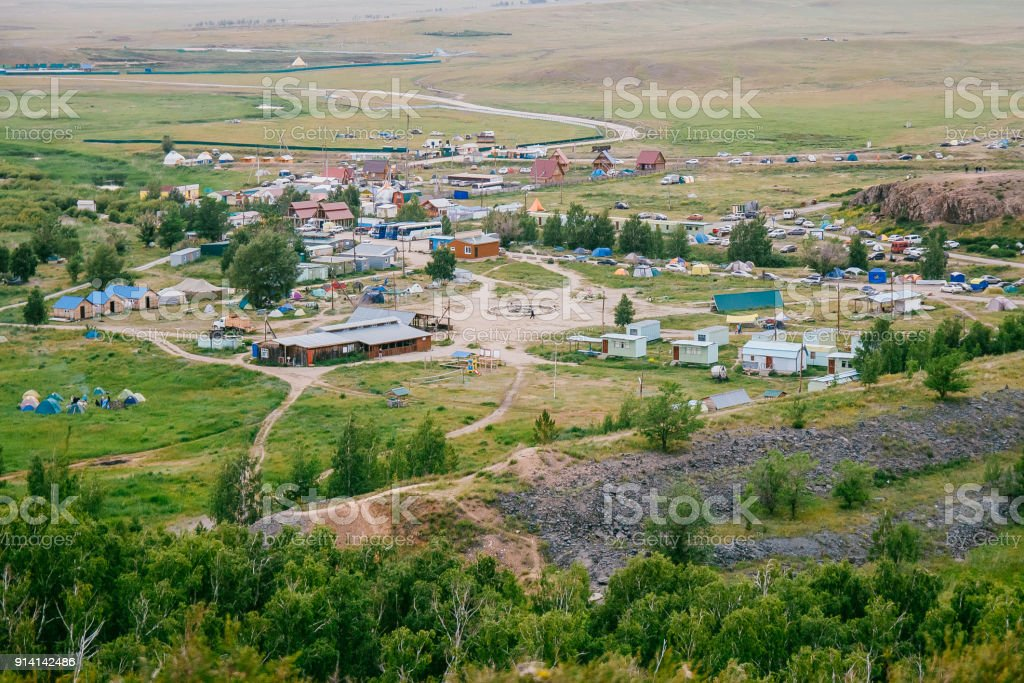 view of ancient settlement of Arkaim. landscape, nature, Russia stock photo
