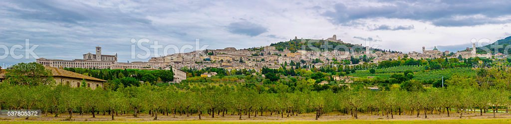 view of ancient town of Assisi. Umbria, Italy stock photo