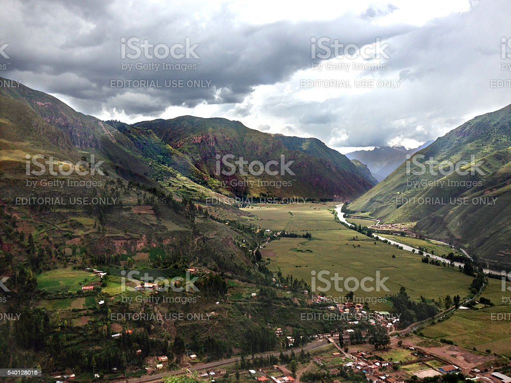 View of Andes mountains in Urubamba (Sacred) Valley, Peru stock photo