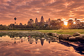 View of Angkor Wat at sunrise, Archaeological Park in Siem Reap, Cambodia UNESCO World Heritage SiteView of Angkor Wat at sunrise, Archaeological Park in Siem Reap, Cambodia UNESCO World Heritage Site