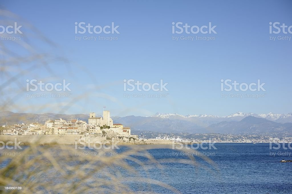 View of Antibes Old Town with Mountains royalty-free stock photo