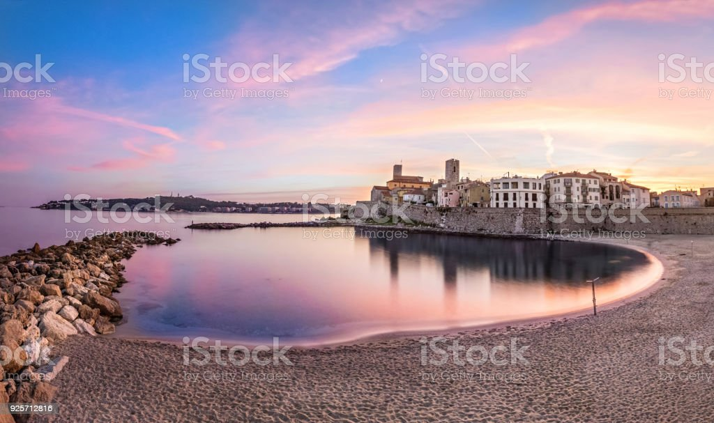 View of Antibes on sunset from plage, French Riviera, France stock photo