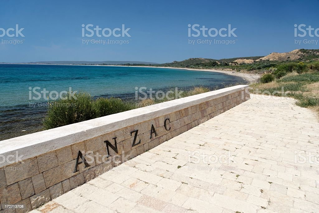 View of Anzac sign with water and coast in background stock photo