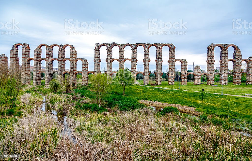 view of Aqueduct of the Miracles in Merida, Spain stock photo