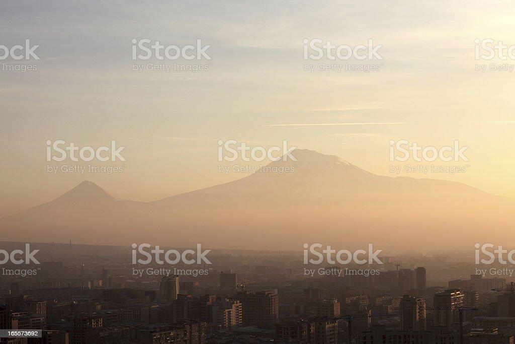 View of Ararat mount over Yerevan royalty-free stock photo