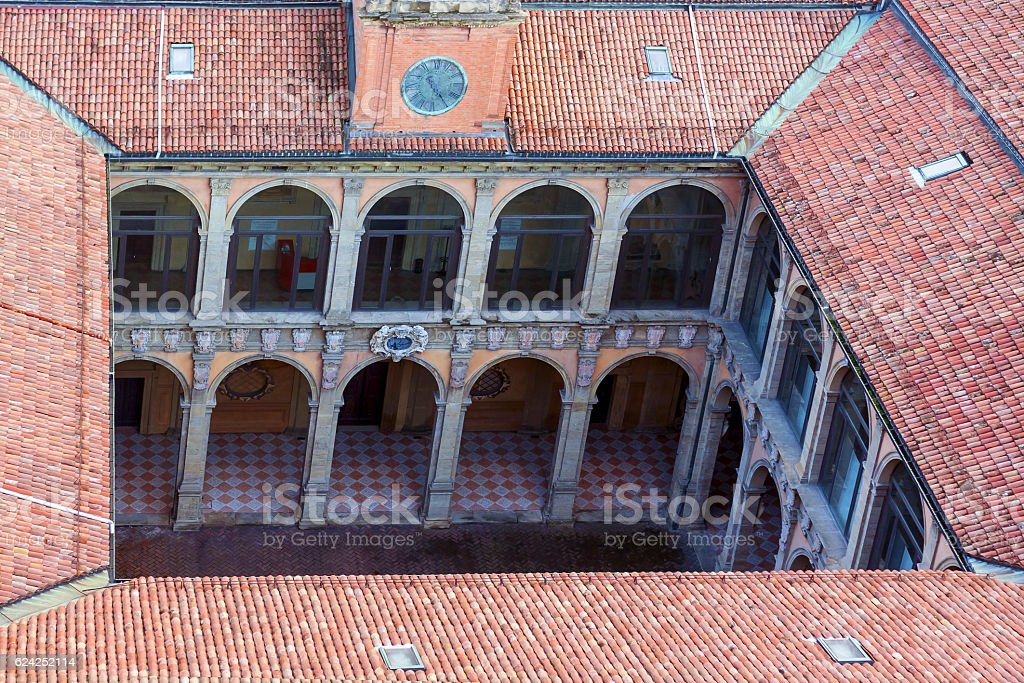 view of archiginnasio - bologna stock photo