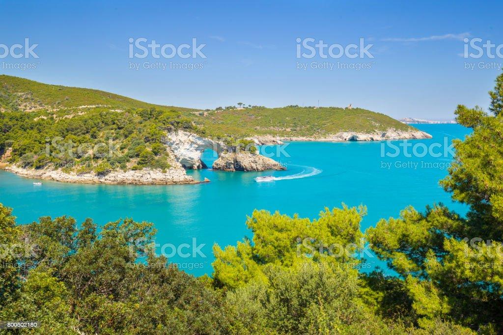 View of Architello or San Felice arch, on Gargano coast, Apulia, Italy. stock photo