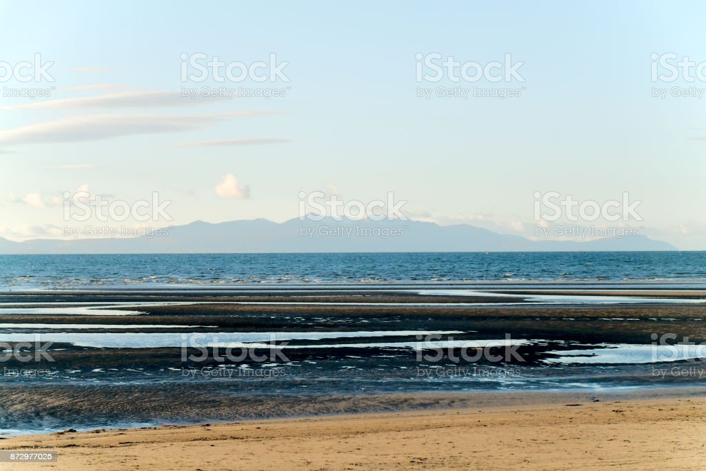 View of Arran from Troon Beach stock photo