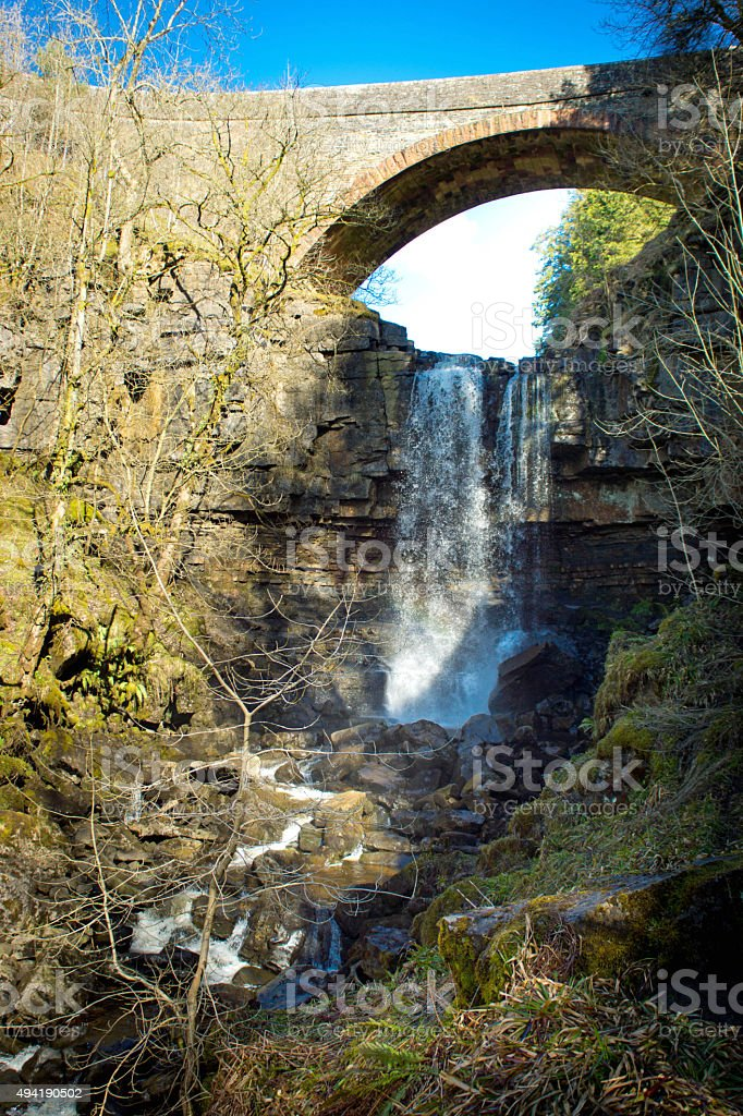 View of Ashgill Force Waterfall Cumbria stock photo