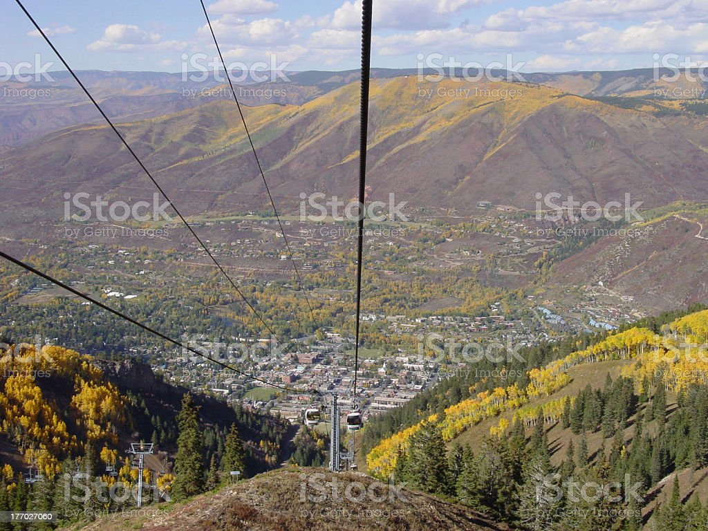 View of Aspen, Colorado from the Gondola royalty-free stock photo