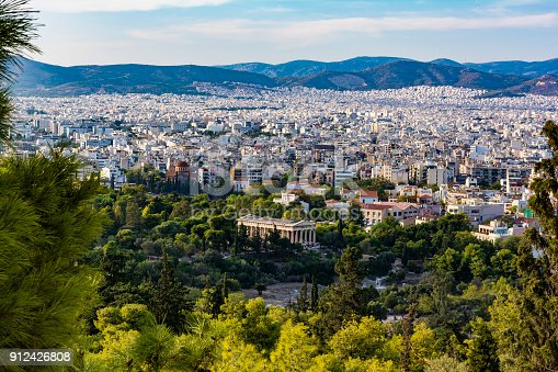 istock View of Athens city with Temple of Hephaestus from Acropolis hill, Athens, Greece 912426808