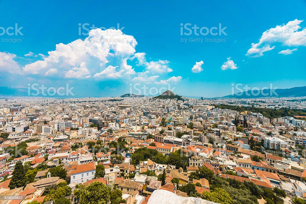 View of Athens from Acropolis stock photo