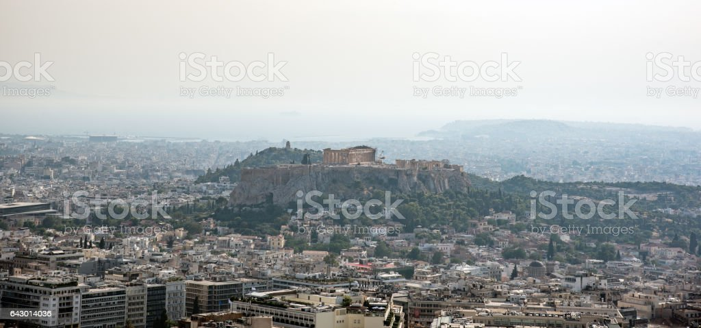 View of Athens from Mount Lycabettus, Greece stock photo