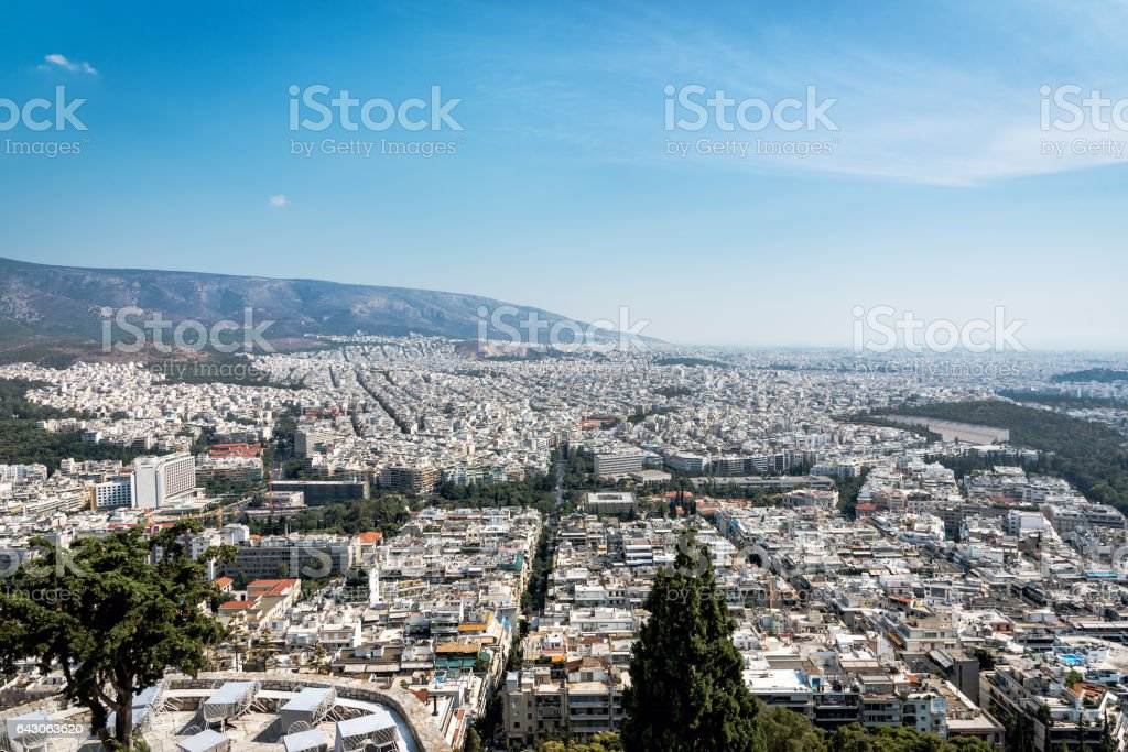 View of Athens from Mount Lycabettus stock photo