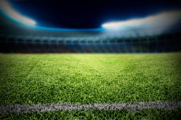 View of athletic soccer football field stock photo