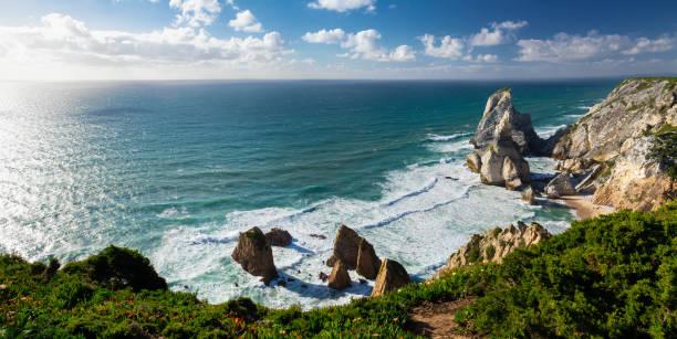 View of Atlantic Coast at Portugal, Cabo da roca. Summer day stock photo
