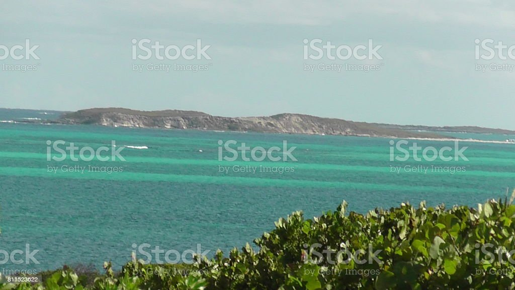 View of Atlantic Ocean from Grand Turk, Turks and Caicos stock photo