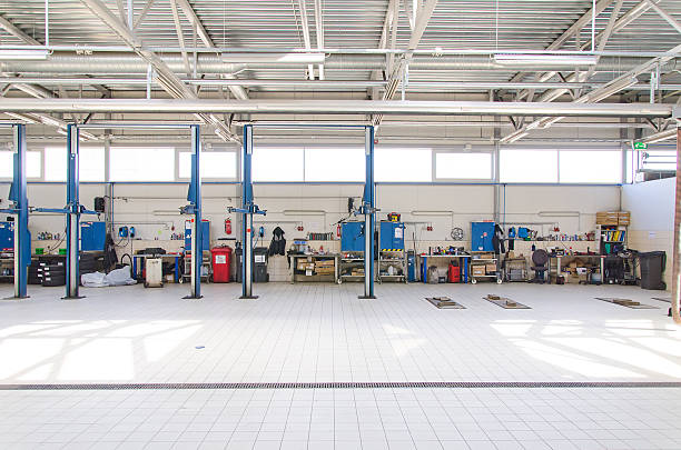View of automobile repair shop or garage. stock photo