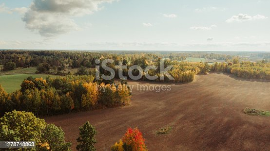 View of autumn fields and sky landscape drone image Photo taken in fall autumn