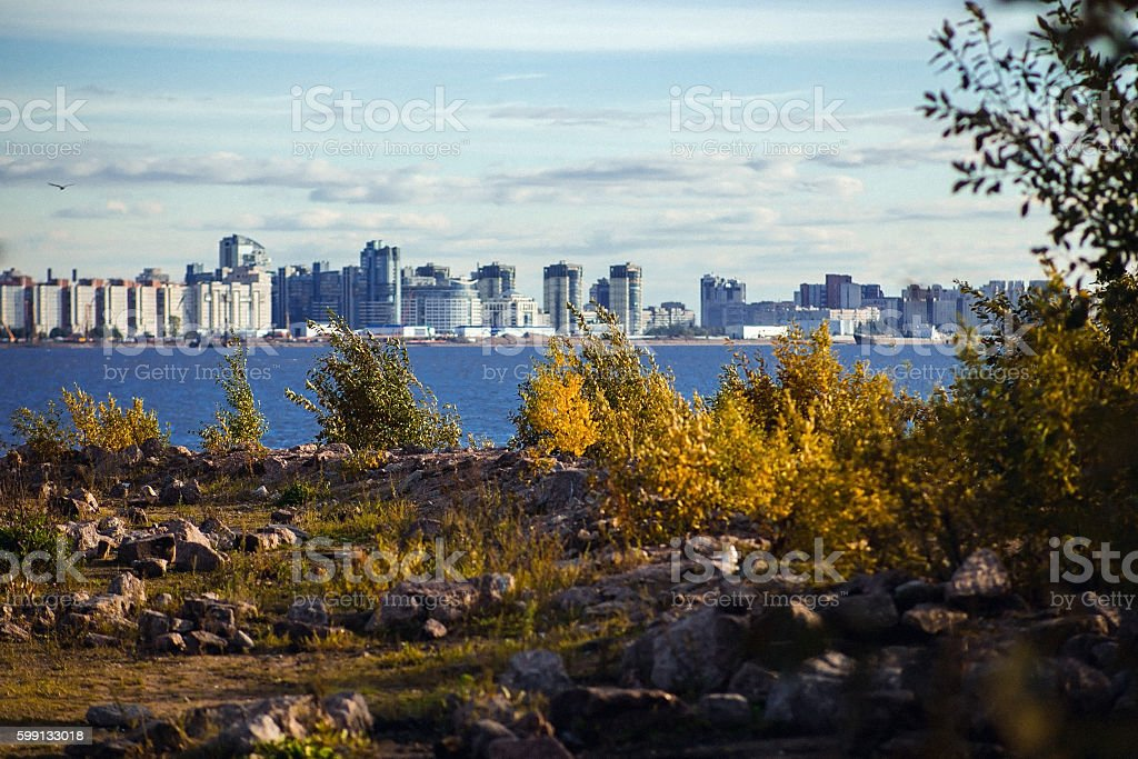 View of autumn St. Petersburg and the Gulf  Finland stock photo