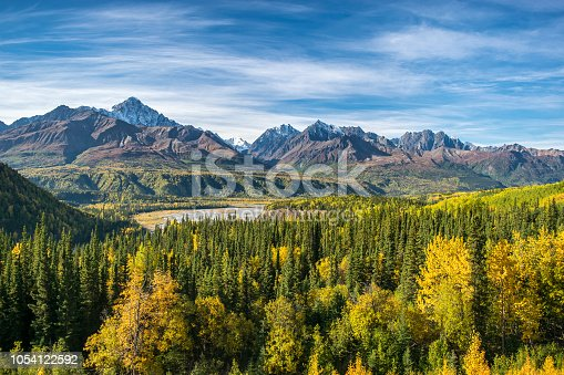 View of autumn Wrangell st. elias national park, Alaska, USA