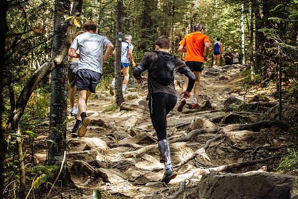 view of back group of marathon runners running - jogging hill bildbanksfoton och bilder