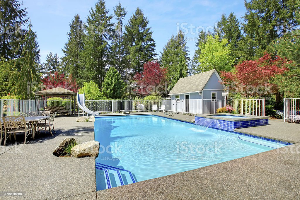 View Of Backyard With Swimming Pool Stock Photo Amp More