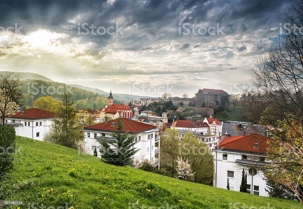 View of Baden-Baden before the storm stock photo