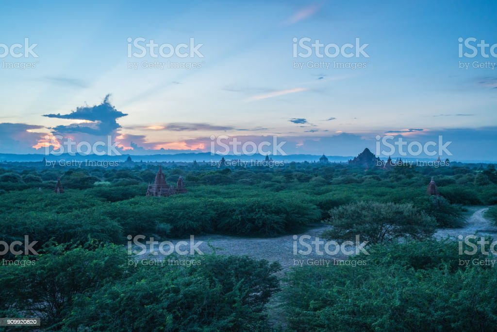 View of Bagan archeological zone at sunset, Myanmar stock photo