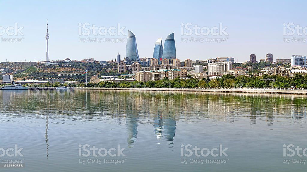 View of Baku downtown from Caspian Sea, Azerbaijan stock photo