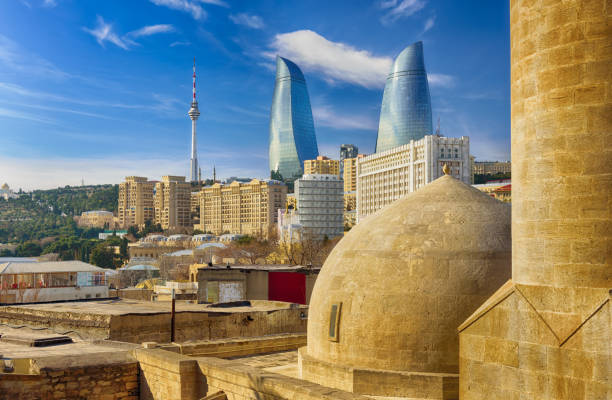 view of Baku stock photo